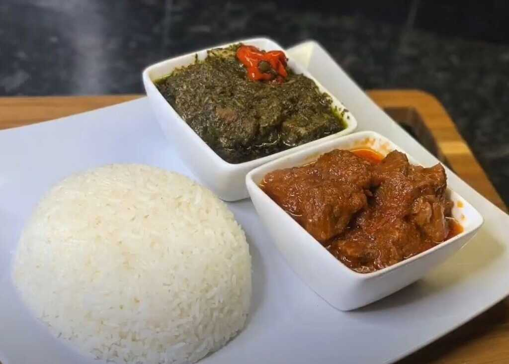 isombe meal with rice and chicken-food in rwanda